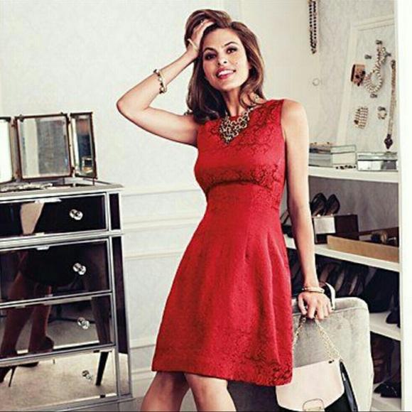 eva mendes for New York & Company Dresses & Skirts - Eva Mendez Red Brocade Sleeveless Fit-Flare Dress